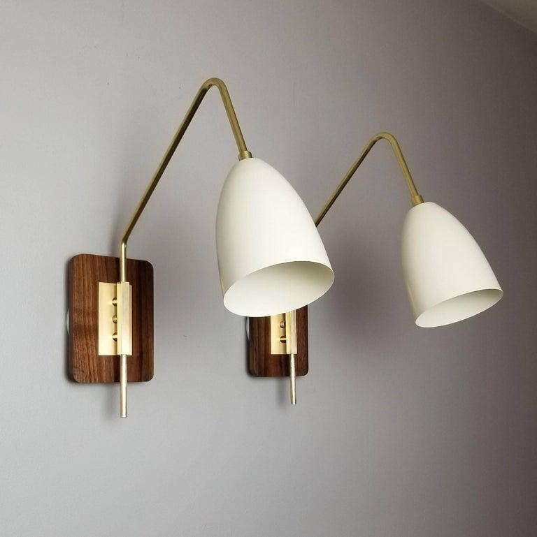 Mid Century Modern Elska Wall Mount Reading Lamp In Walnut Br