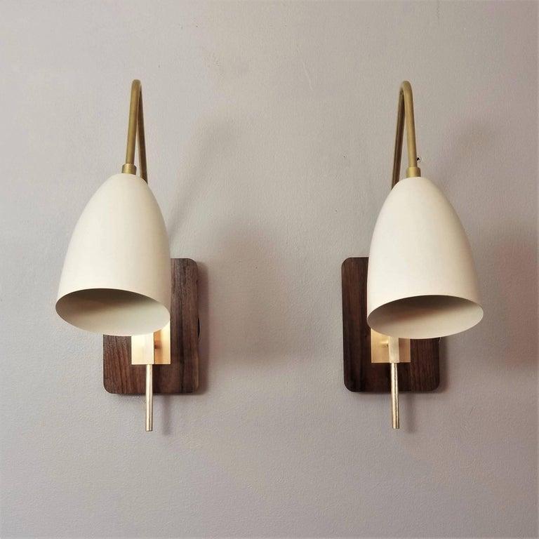 Elska Wall Mount Reading Lamp In Walnut Br Enamel By Blueprint Lighting