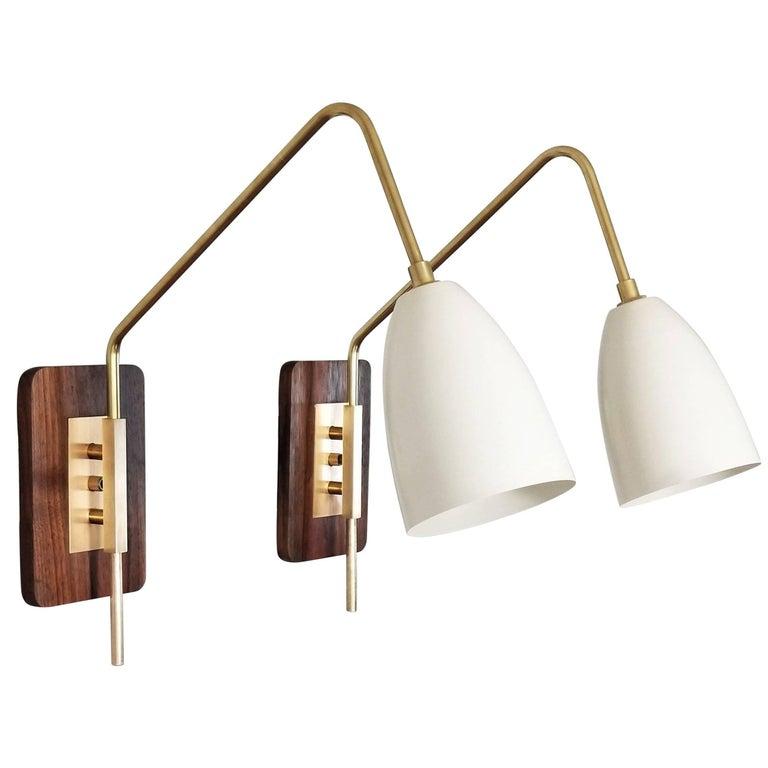 'Elska' Wall Mount Reading Lamp in Walnut, Brass & Enamel by Blueprint Lighting