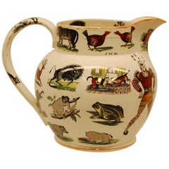 Elsmore & Forster Ironstone Ale Jug with Exotic Animal Transferware, circa 1850