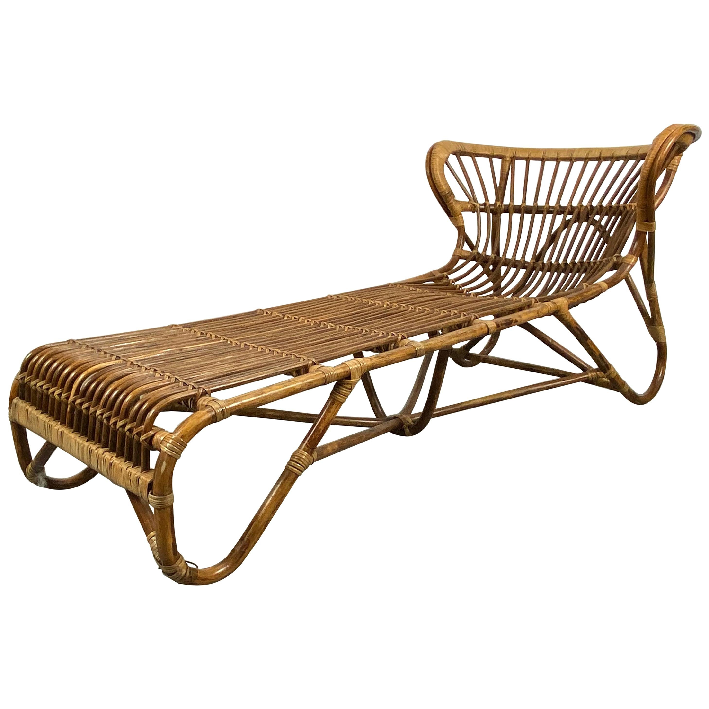 Elusive Bamboo and Rattan Chaise Lounge Attributed to Franco Albini