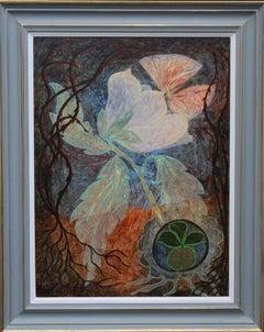 Dream of Sleeping Beauty - British Surrealist art 60's floral oil painting magic