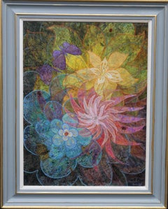 Flower Spirals II - British 60's Surrealist art floral still life oil painting
