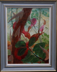 Rosa Moyseii - British female Surrealist 60's art floral rosehips oil painting