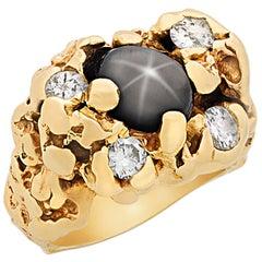 Elvis' Black Star Sapphire Gold Nugget Ring