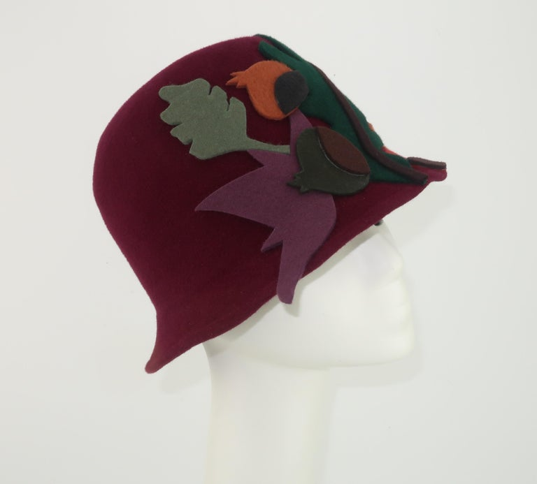 Black Elvis Pompilio Autumnal Wool Felt Bucket Hat, 1990's For Sale