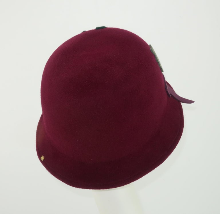Elvis Pompilio Autumnal Wool Felt Bucket Hat, 1990's In Good Condition For Sale In Atlanta, GA