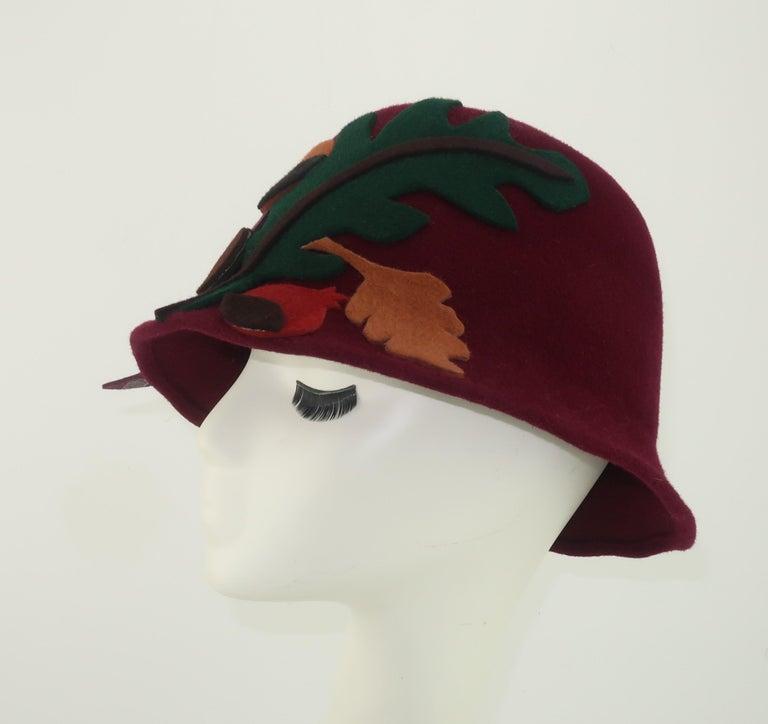 Women's Elvis Pompilio Autumnal Wool Felt Bucket Hat, 1990's For Sale
