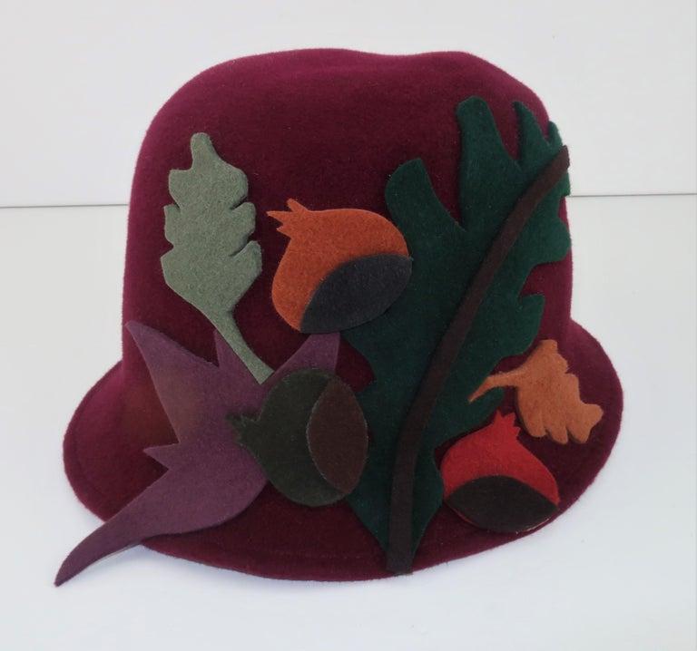 Elvis Pompilio Autumnal Wool Felt Bucket Hat, 1990's For Sale 1