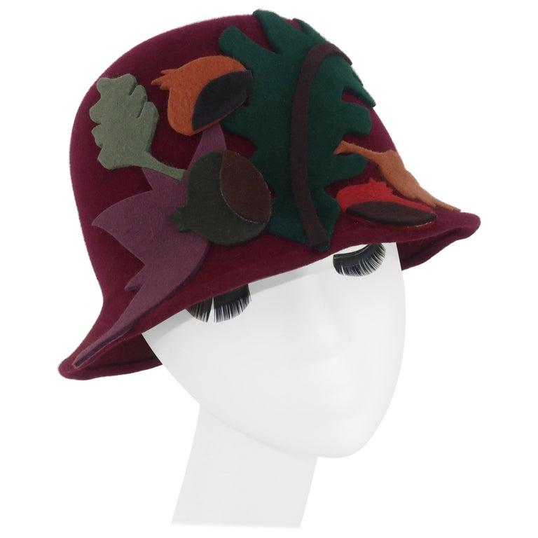 Elvis Pompilio Autumnal Wool Felt Bucket Hat, 1990's For Sale