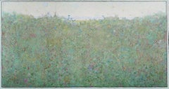 Chicory, large transitional green and blue abstract landscape