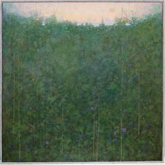 'Dawn', large square transitional green and blue abstract landscape