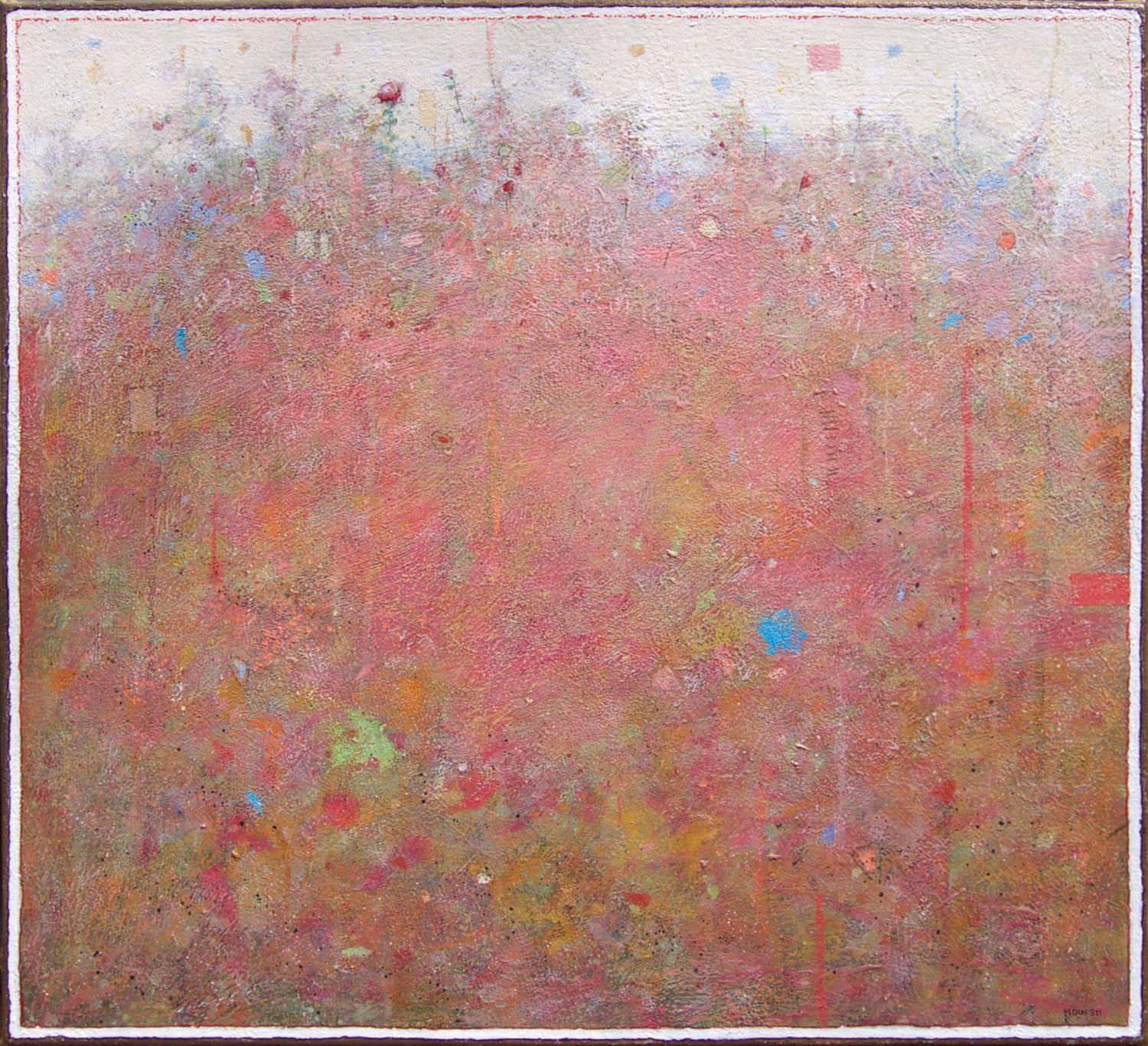 'Last Bloom', Minimalist Abstract Contemporary Landscape Acrylic Painting