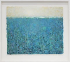'Overture' transitional acrylic dusty blue landscape/seascape small painting