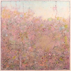 'Pink Butterfly', Minimalist Abstract Contemporary Landscape Acrylic Painting