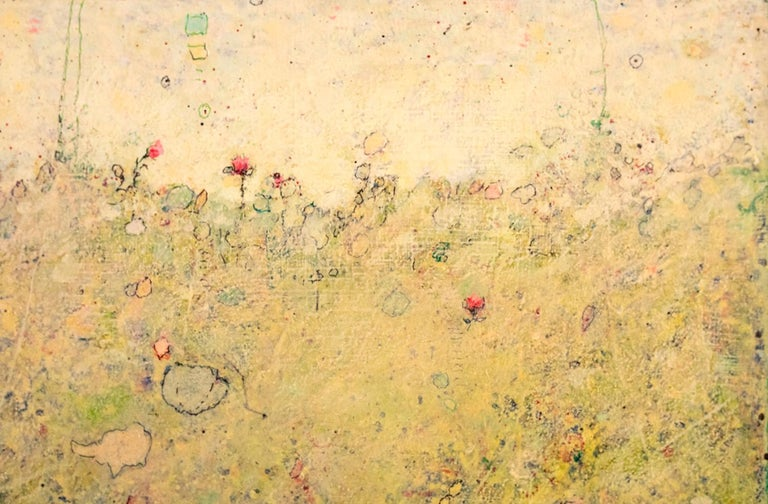'Red Flowers', Minimalist Abstract Contemporary Landscape Acrylic Painting - Beige Landscape Painting by Elwood Howell