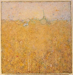 'Sprout' transitional acrylic soft yellow earth landscape, small painting