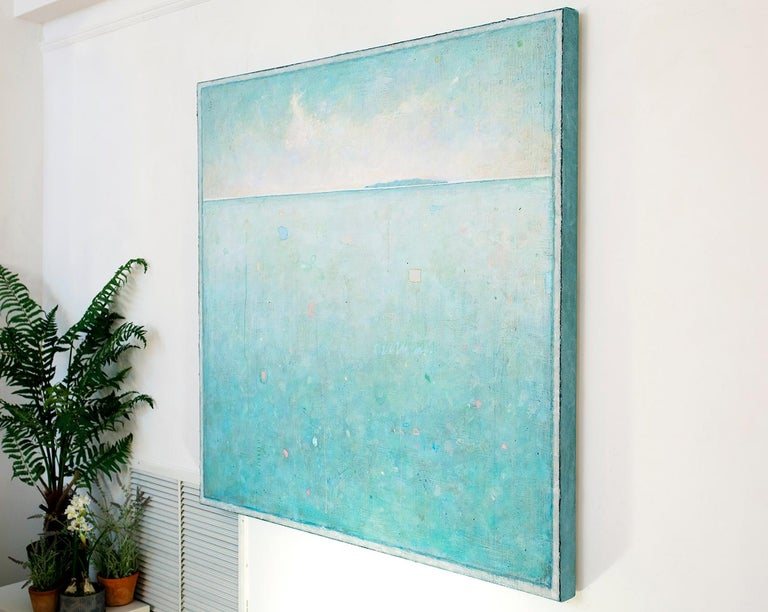 'Time Out', Minimalist Abstract Contemporary Landscape Acrylic Painting - Blue Landscape Painting by Elwood Howell