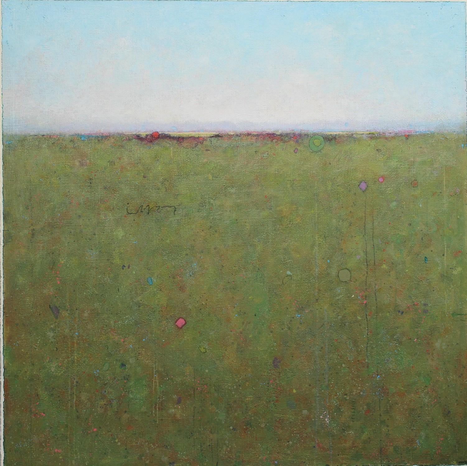 """""""Two Red Dots,"""" Abstract Landscape Painting"""