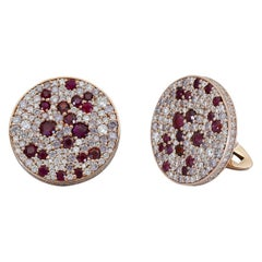 Ely Adams, Ruby, Pink and White Diamond Circle Cufflinks