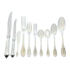 Elysee by Puiforcat French Sterling Silver Flatware Set Dinner Service 136 Piece