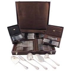 Elysee by Puiforcat French Sterling Silver Silverware Set Dinner Service 95 Pcs