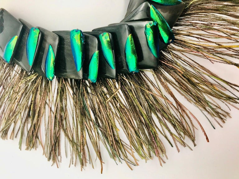 Artisan Elytra/Peacock Feathers ,Theatrical Statement Necklace by Sylvia Gottwald  For Sale