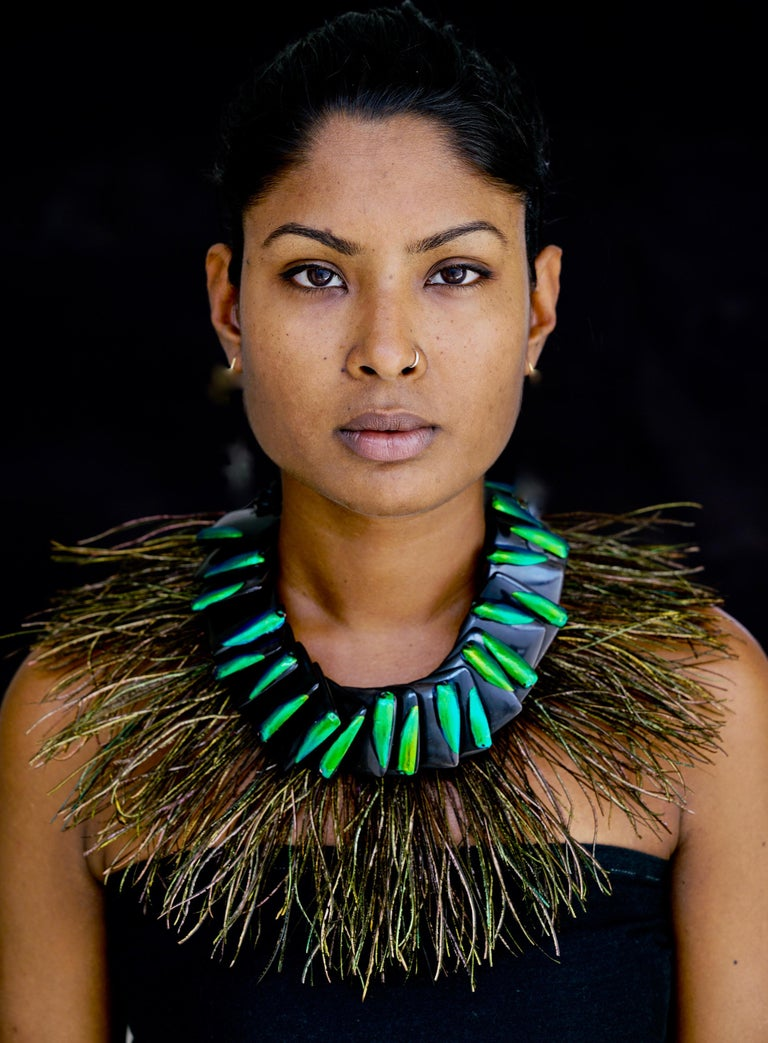 Elytra/Peacock Feathers ,Theatrical Statement Necklace by Sylvia Gottwald  For Sale 1