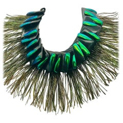 Elytra/Peacock Feathers ,Theatrical Statement Necklace by Sylvia Gottwald