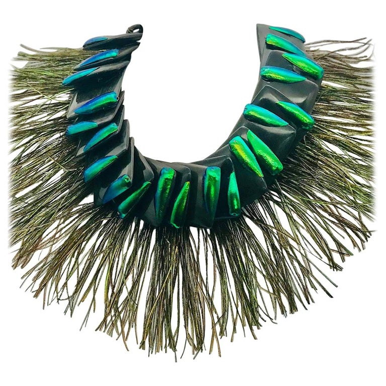 Elytra/Peacock Feathers ,Theatrical Statement Necklace by Sylvia Gottwald  For Sale
