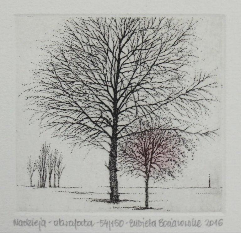 Hope- XXI Century, Contemporary Landscape Etching, Nature, Trees  - Print by Elżbieta Bocianowska