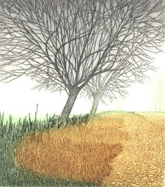 Mist - XXI Century, Contemporary Landscape Etching, Warm Tones