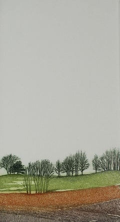 Moods I - XXI Century, Contemporary Landscape Etching, Warm Tones