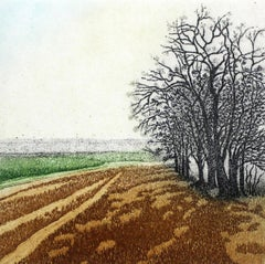 On the edge - XXI Century, Contemporary Landscape Etching, Strong Colors