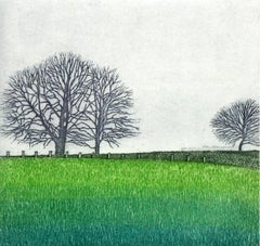Silence II - XX Century, Landscape Etching, Rural View, Saturated Green Colors