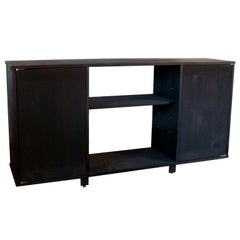 EM Solid Walnut Black Credenza with Brass Hardware