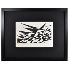 E.M. Washington Wood Block Print Birds in Flight 1927