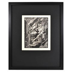 E.M. Washinton Factories Industry Wood Block Print 1926