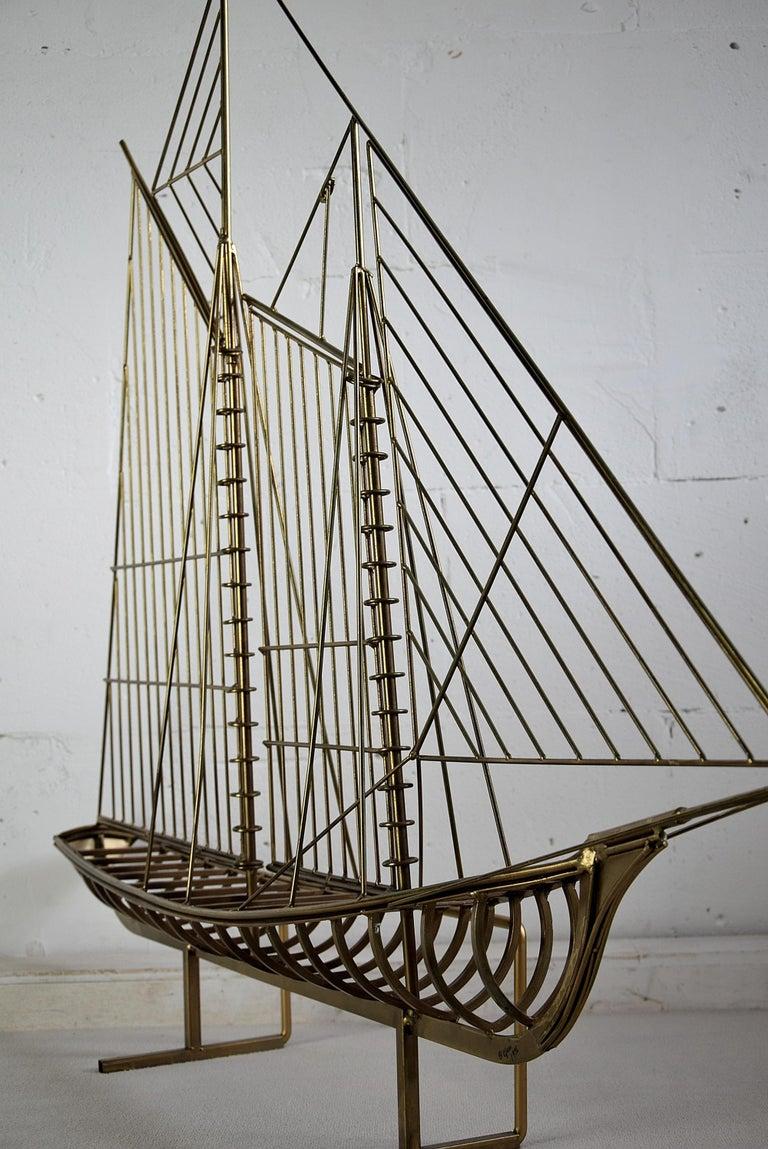 Curtis Jeré Big Sculptural Signed Sailing Boat 1976 For Sale 4