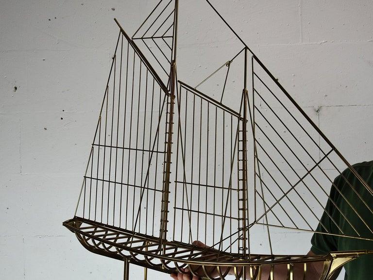 Curtis Jeré Big Sculptural Signed Sailing Boat 1976 For Sale 5