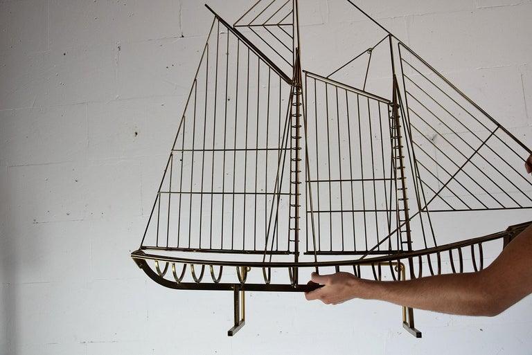 Mid-Century Modern Curtis Jeré Big Sculptural Signed Sailing Boat 1976 For Sale