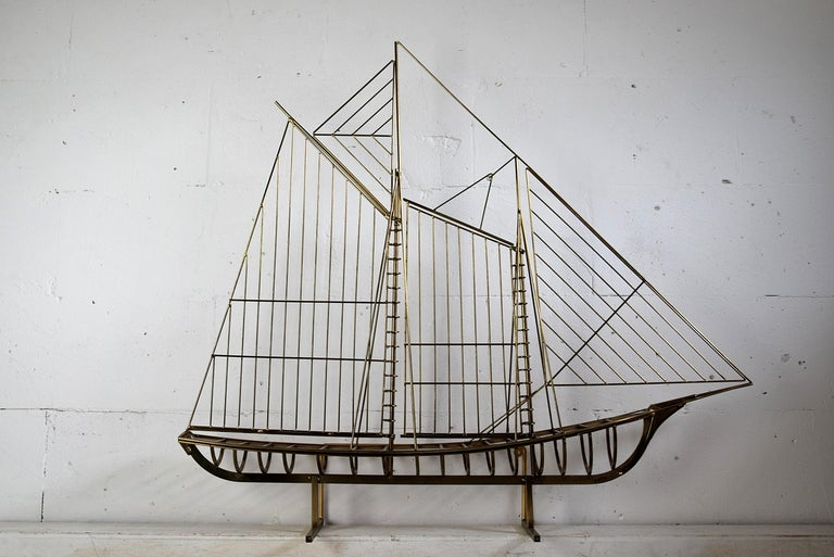 Curtis Jeré Big Sculptural Signed Sailing Boat 1976 In Good Condition For Sale In Weesp, NL
