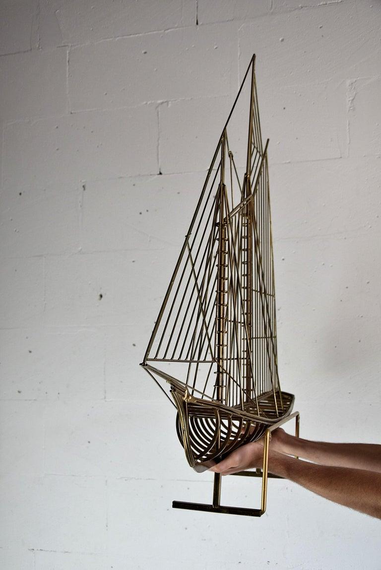 Brass Curtis Jeré Big Sculptural Signed Sailing Boat 1976 For Sale