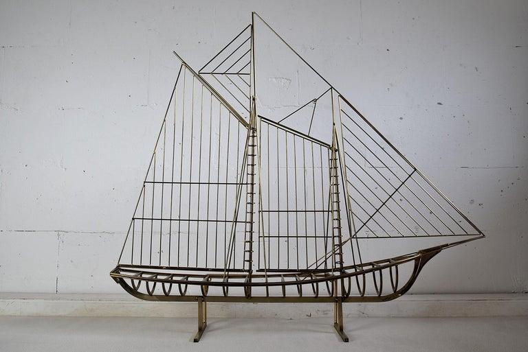 Curtis Jeré Big Sculptural Signed Sailing Boat 1976 For Sale 1