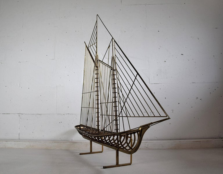 Curtis Jeré Big Sculptural Signed Sailing Boat 1976 For Sale 2