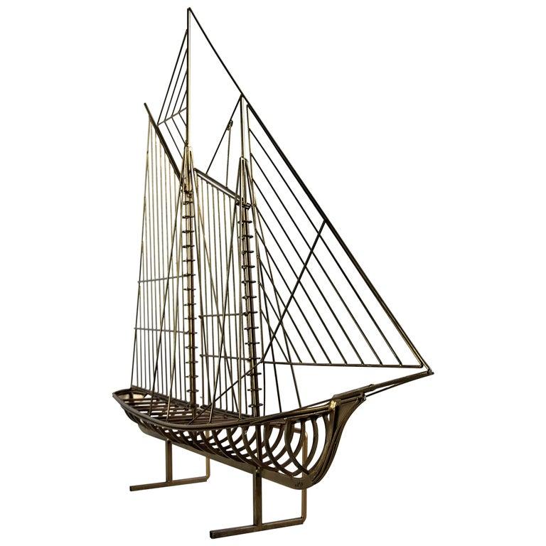Curtis Jeré Big Sculptural Signed Sailing Boat 1976 For Sale