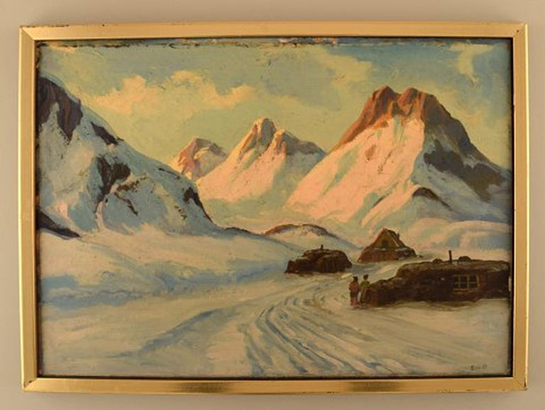 Emanuel A. Petersen (b. 1894, d. 1948). Greenlandic landscape. Oil on canvas.
