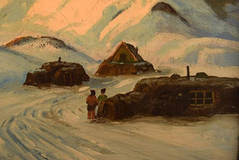 Danish Emanuel a. Petersen, Greenlandic Landscape. Oil on Canvas For Sale