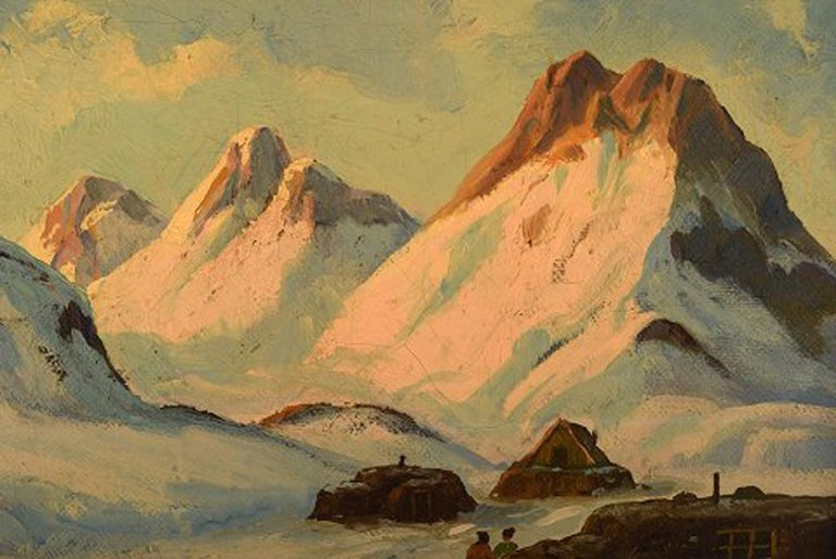 Emanuel a. Petersen, Greenlandic Landscape. Oil on Canvas In Excellent Condition For Sale In Copenhagen, Denmark