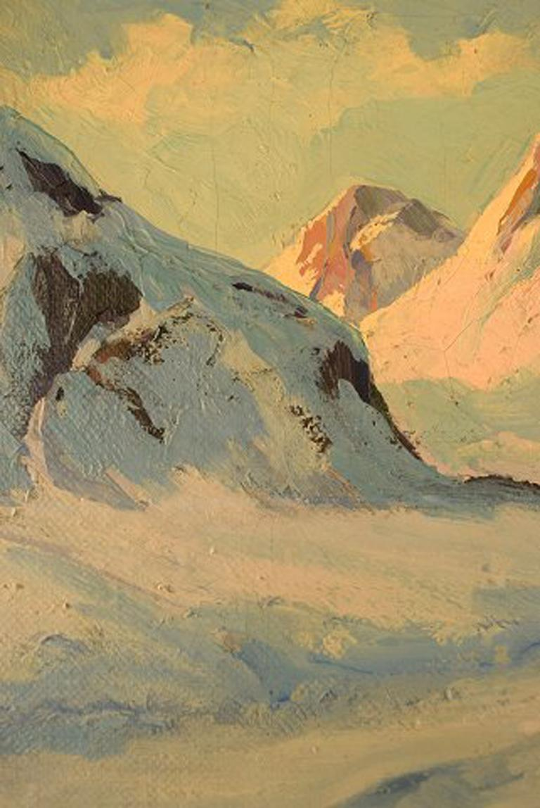 Mid-20th Century Emanuel a. Petersen, Greenlandic Landscape. Oil on Canvas For Sale